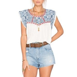 'Memphis' Embroidered Top TULAROSA Size Large